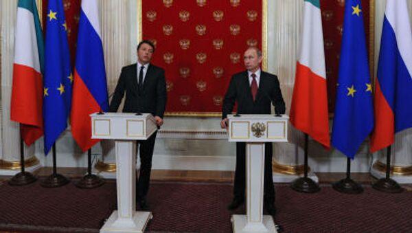 Matteo Renzi e Vladimir Putin al Cremlino alla conferenza stampa congiunta/ Il 5 marzo 2015 - Sputnik Italia