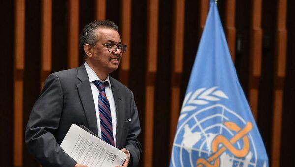 Il direttore generale dell'Oms Tedros Adhanom Ghebreyesus , Ginevra, Svizzera, 3 luglio 2020.  - Sputnik Italia