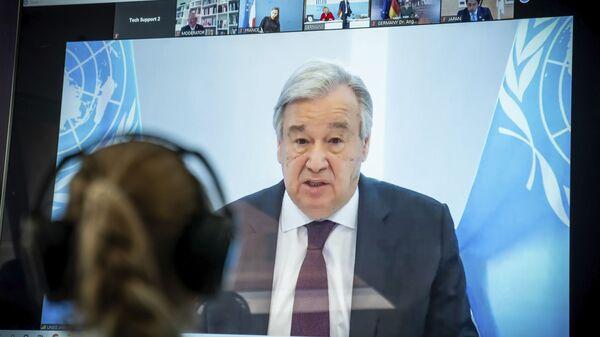 Antonio Guterres, segretario generale delle Nazioni Unite in videoconferenza il 18 aprile - Sputnik Italia