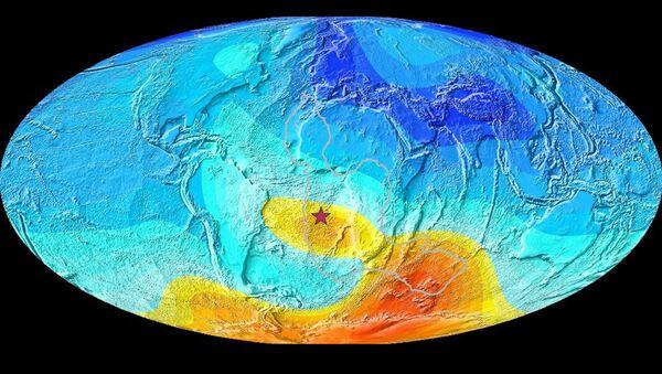 Una mappa della Terra che mostra la deviazione attuale dalla direzione prevista del polo magnetico - Sputnik Italia