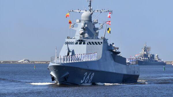 Патрульный корабль проекта 22160 Василий Быков на генеральной репетиции парада ко Дню ВМФ в Кронштадте - Sputnik Italia