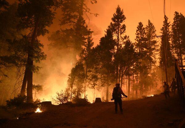 Vigili del fuoco americani sul luogo del vasto incendio in California. - Sputnik Italia