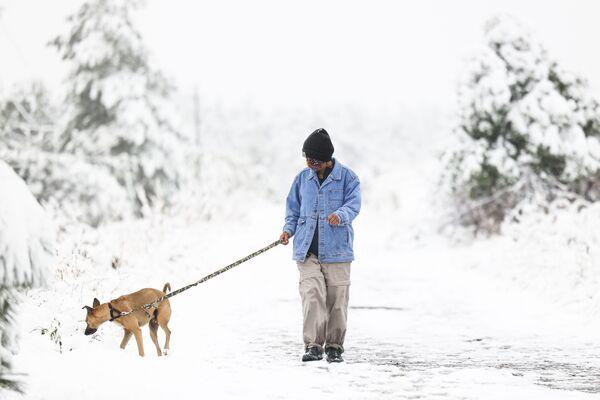 Una donna passeggia con il suo cane dopo una nevicata in Colorado. - Sputnik Italia