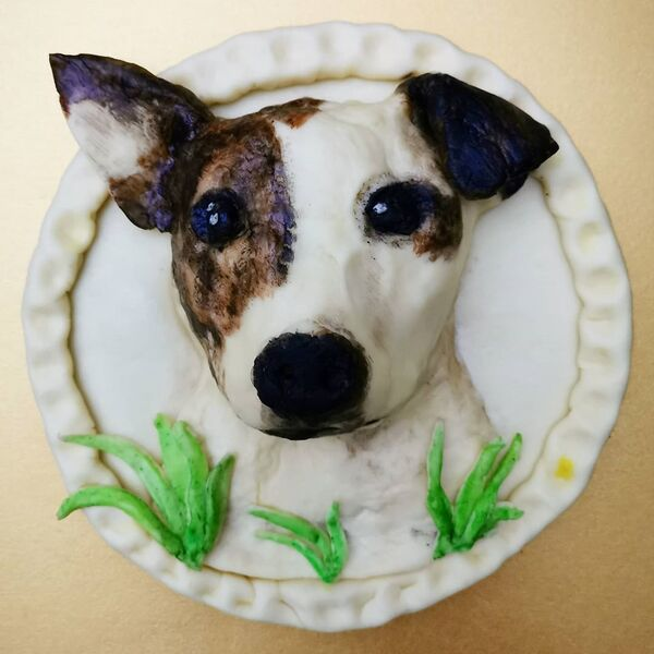 Un cane realizzato dai prodotti commestibili da  Jolanda Stokkermans, Belgio  - Sputnik Italia
