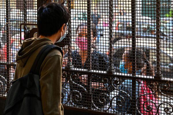 Un alunno saluta i suoi parenti prima di entrare in una scuola a Roma, Italia - Sputnik Italia