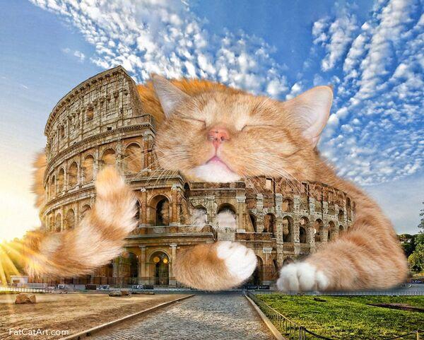 Il Colosseo con Zarathustra il Gatto nel progetto di Svetlana Petrova Fat Cat Art - Sputnik Italia