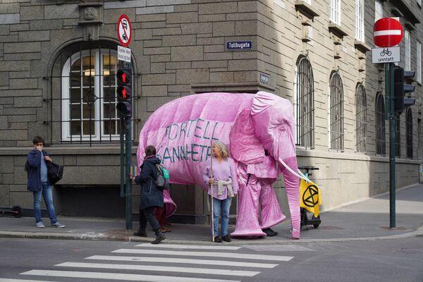 I partecipanti del movimento climatico Extinction Rebellion vestiti da elefante durante una protesta contro la politica petrolifera del governo norvegese - Sputnik Italia