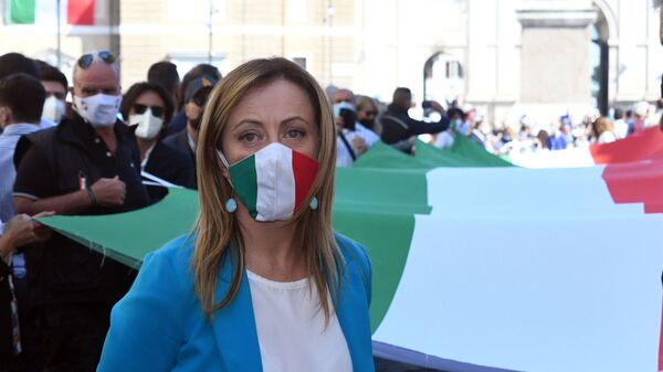 Manifestazione del centro destra con i leader Matteo Salvini, Giorgia Meloni e Antonio Tajani - Sputnik Italia