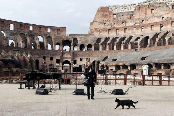 Un concerto al Colosseo in occasione della riapertura dei musei a Roma, in Italia, il 1° febbraio 2021 - Sputnik Italia