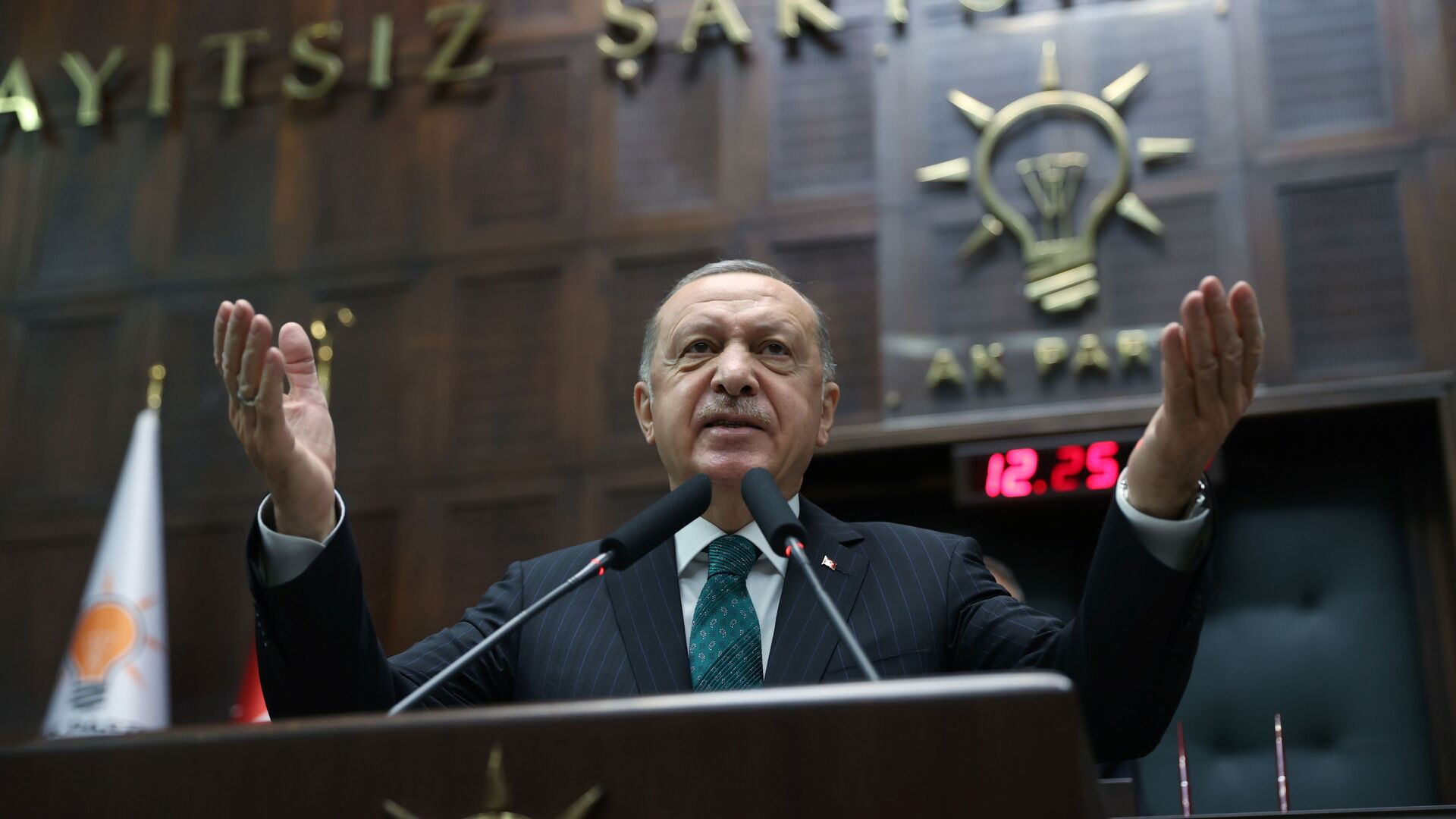 Turkish President Tayyip Erdogan addresses members of parliament from his ruling AK Party (AKP) during a meeting at the Turkish parliament in Ankara, Turkey, February 10, 2021 - Sputnik Italia, 1920, 15.02.2021