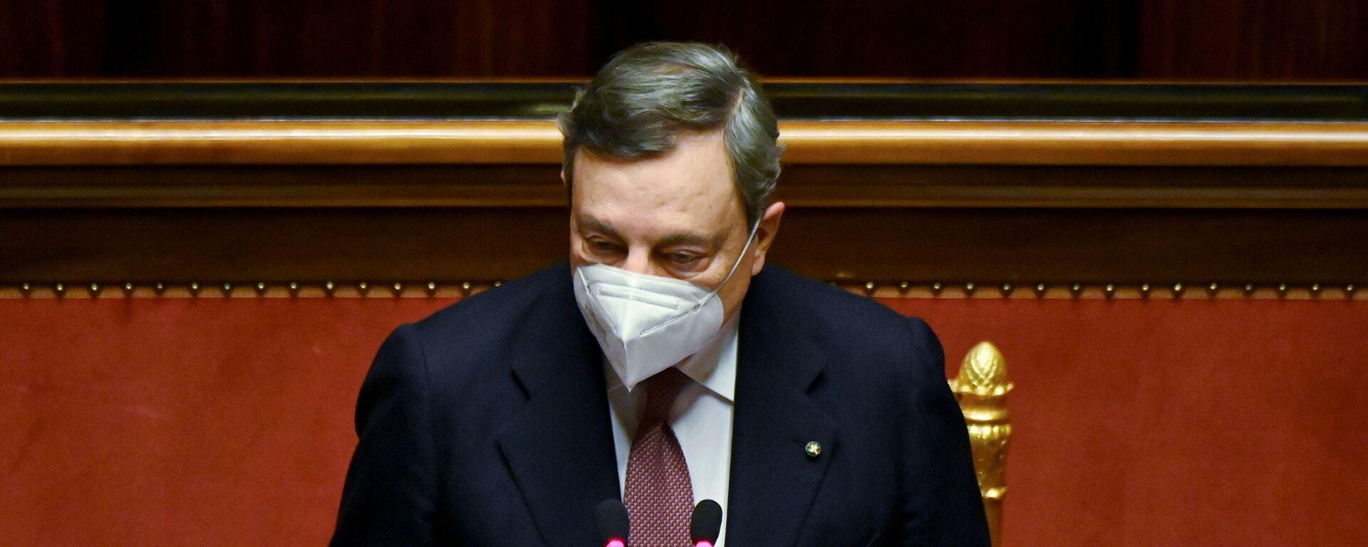 Il presidente del Consiglio Mario Draghi al Senato - Sputnik Italia, 1920, 19.02.2021