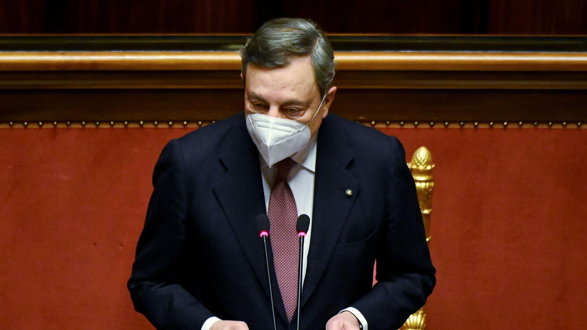 Il presidente del Consiglio Mario Draghi al Senato - Sputnik Italia, 1920, 22.03.2021