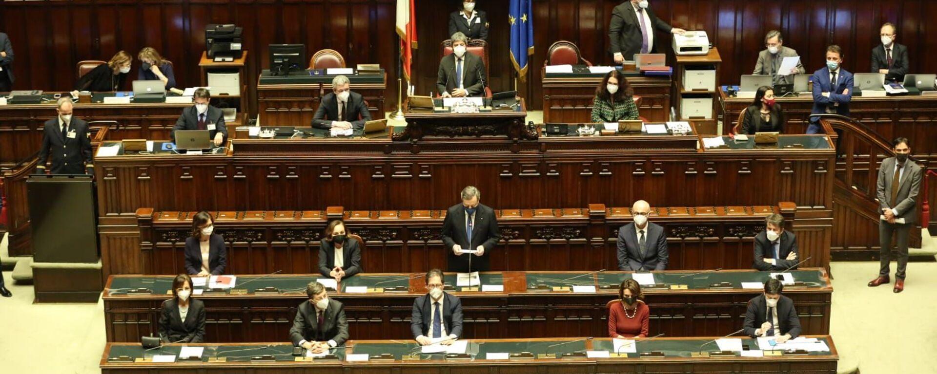 Presidente Mario Draghi durante il voto alla fiducia alla Camera dei Deputati - Sputnik Italia, 1920, 19.02.2021