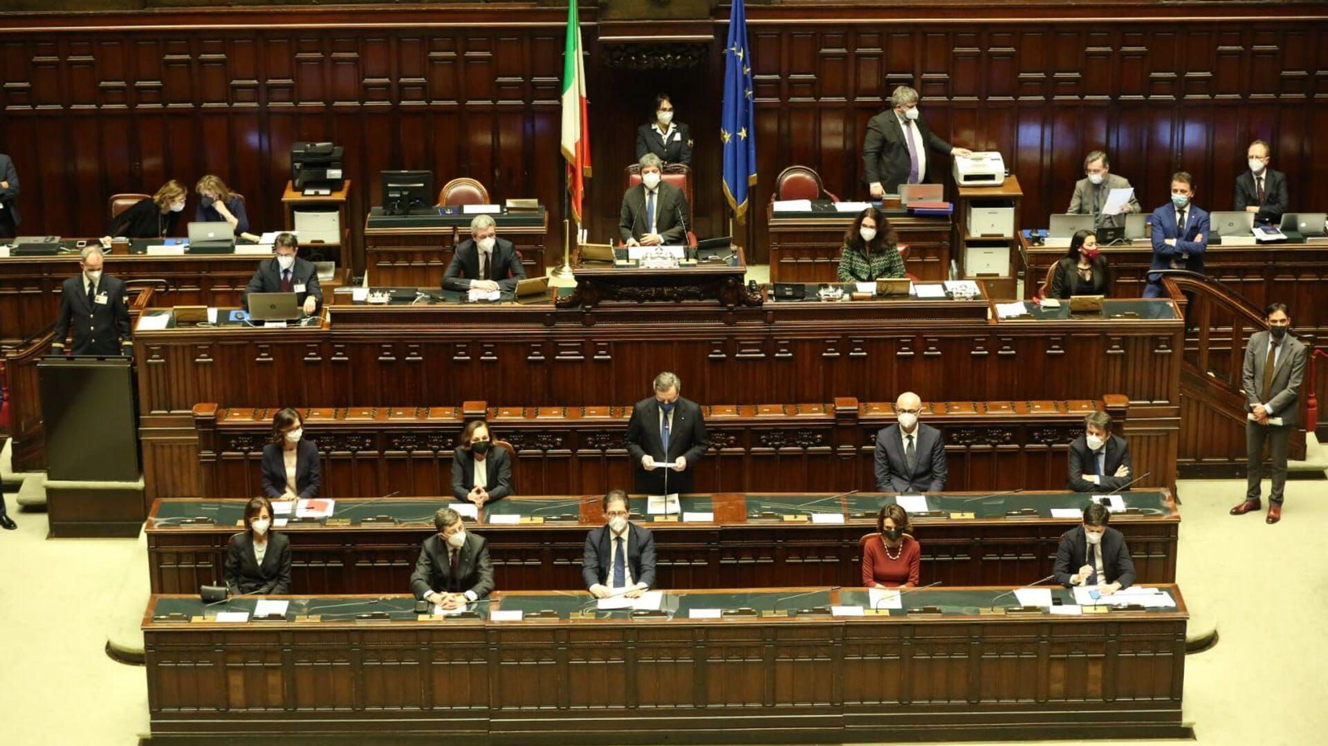 Presidente Mario Draghi durante il voto alla fiducia alla Camera dei Deputati - Sputnik Italia, 1920, 18.02.2021