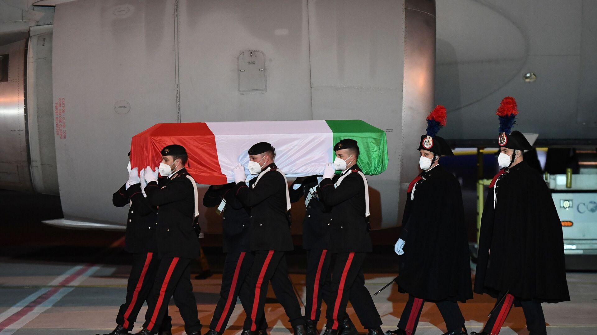Arrivate a Ciampino le salme dell'ambasciatore Luca Attanasio e del carabiniere Vittorio Iacovacci - Sputnik Italia, 1920, 24.02.2021