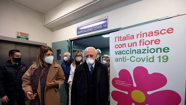 18/01/2021 - Il Presidente De Luca all'apertura del punto vaccinale del Policlinico universitario Federico II - Sputnik Italia