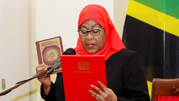 Tanzania's new President Samia Suluhu Hassan takes oath of office following the death of her predecessor John Pombe Magufuli at State House in Dar es Salaam, Tanzania March 19, 2021 - Sputnik Italia