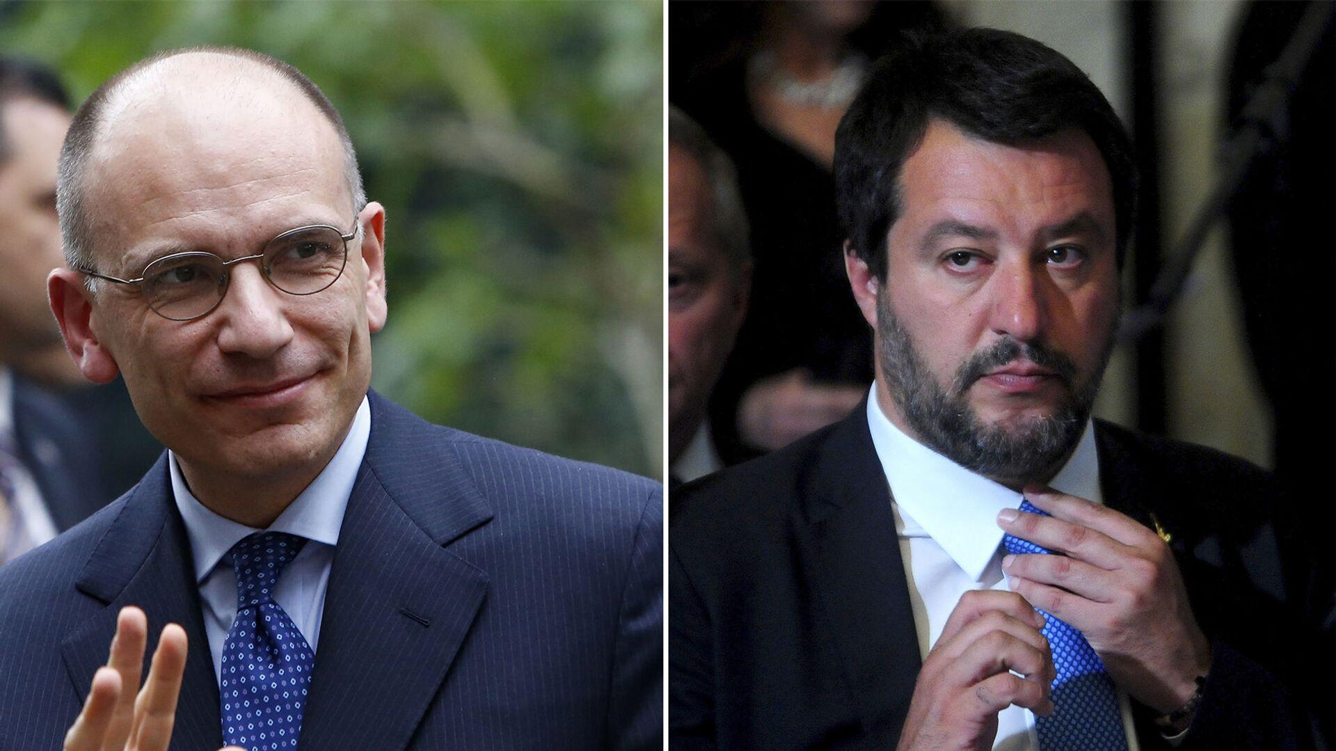 Il leader del PD, Enrico Letta e il segretario leghista Matteo Salvini - Sputnik Italia, 1920, 25.08.2021