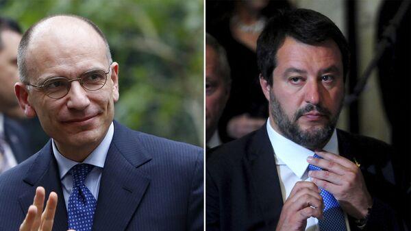 Il leader del PD, Enrico Letta e il segretario leghista Matteo Salvini - Sputnik Italia