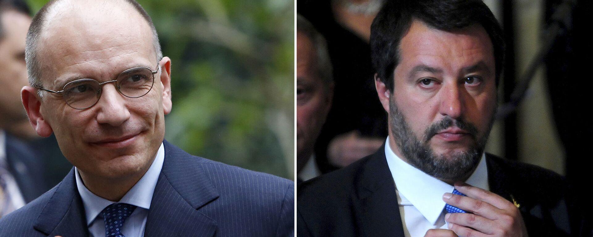 Il leader del PD, Enrico Letta e il segretario leghista Matteo Salvini - Sputnik Italia, 1920, 03.07.2021