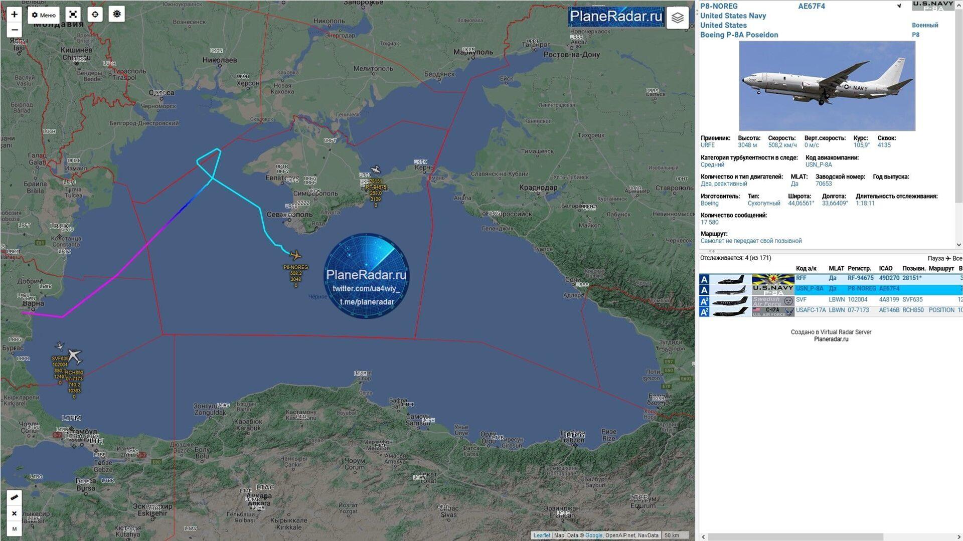 Il tracciato del volo del Boeing Usa sul sito PlaneRadar - Sputnik Italia, 1920, 18.05.2021