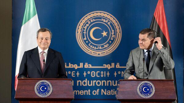 Le dichiarazioni congiunte del Presidente del Consiglio, Mario Draghi, e del Primo Ministro Abdelhamid Dabaiba, al termine del loro incontro - Sputnik Italia
