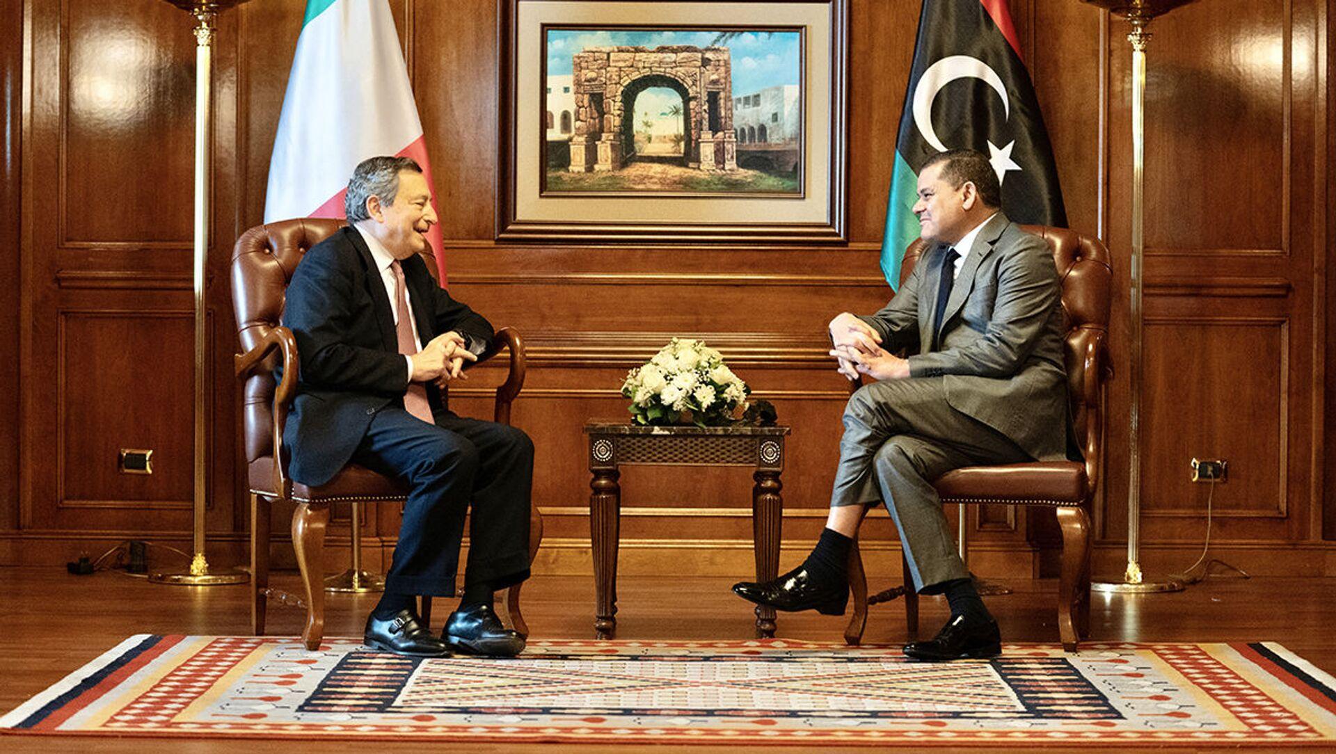 Il Presidente del Consiglio, Mario Draghi, a colloquio con il Primo Ministro Abdelhamid Dabaiba - Sputnik Italia, 1920, 07.04.2021