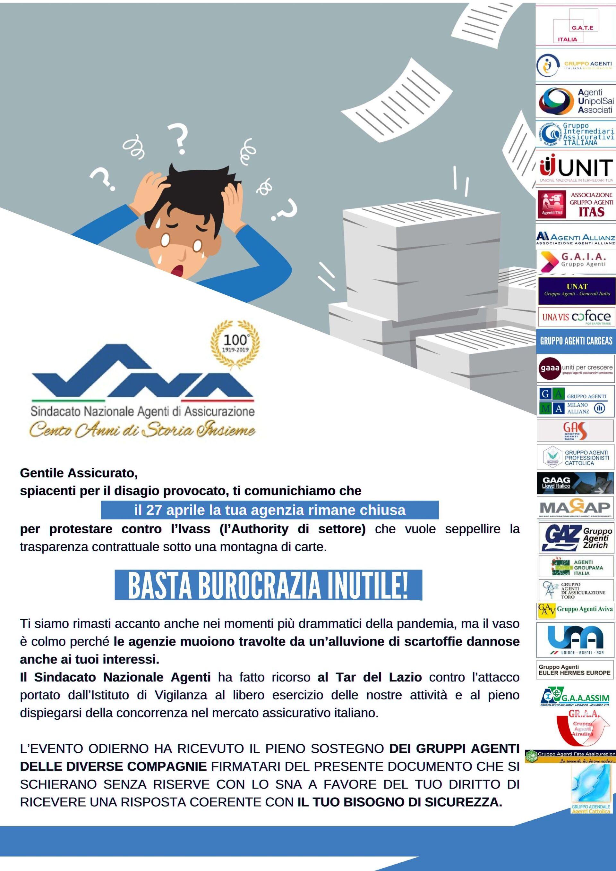 Manifesto sciopero Agenzie di assicurazioni organizzato da Sna, 27 aprile - Sputnik Italia, 1920, 18.05.2021