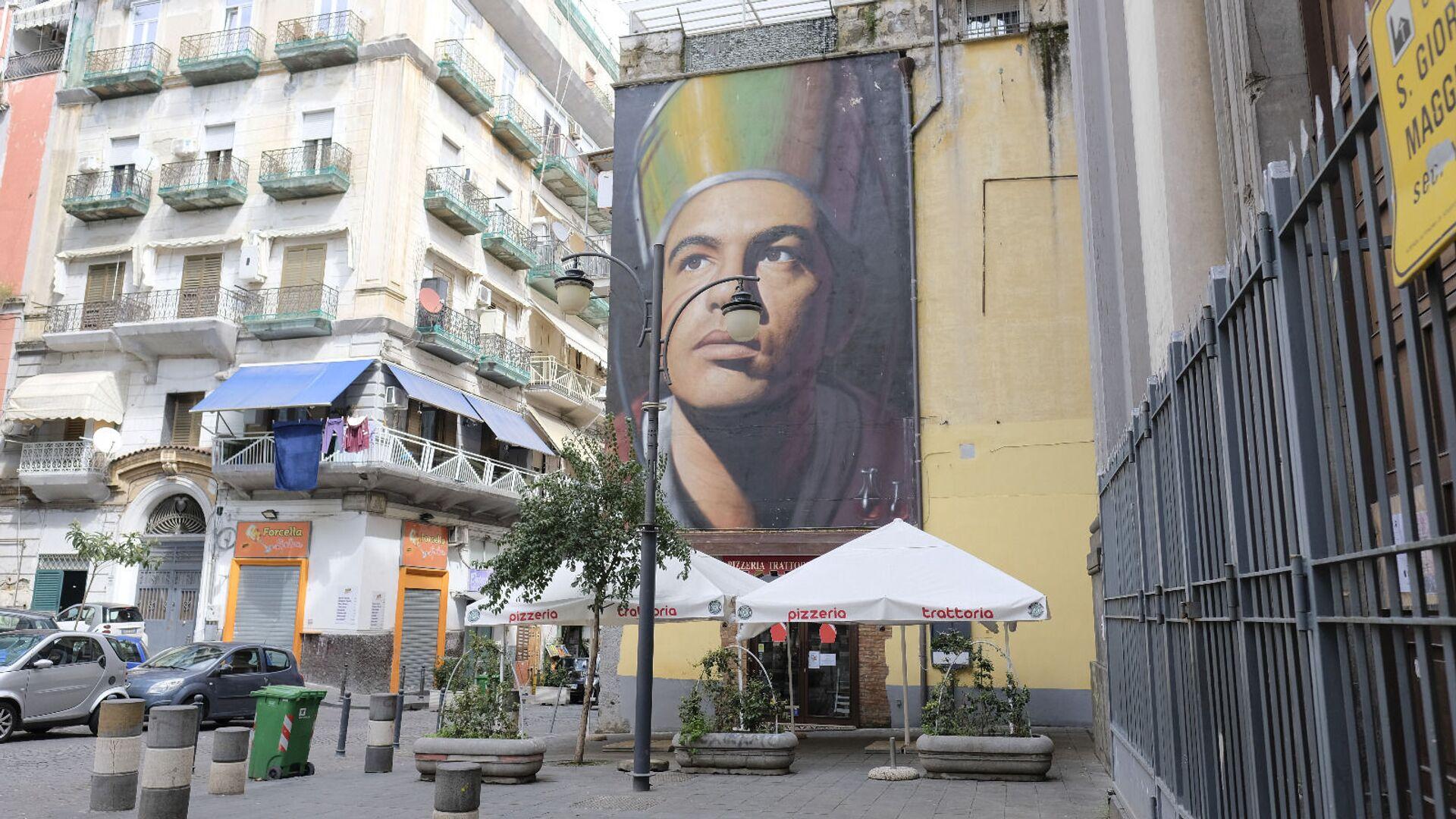 Murales di San Gennaro a Piazza Crocelle ai Mannesi a Forcella, Napoli - Sputnik Italia, 1920, 04.05.2021