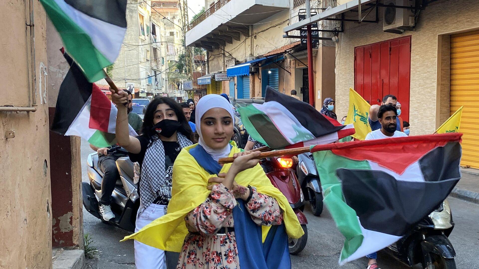 Una manifestazione a sostegno di Palestina a Beirut - Sputnik Italia, 1920, 23.05.2021