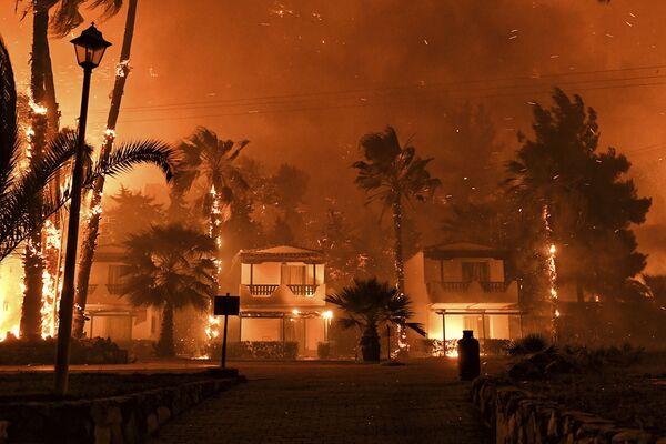 Almeno sei villaggi e due monasteri sono stati evacuati a causa di un grande incendio boschivo sulla costa del Golfo di Corinto, a circa 90 km a ovest di Atene. - Sputnik Italia