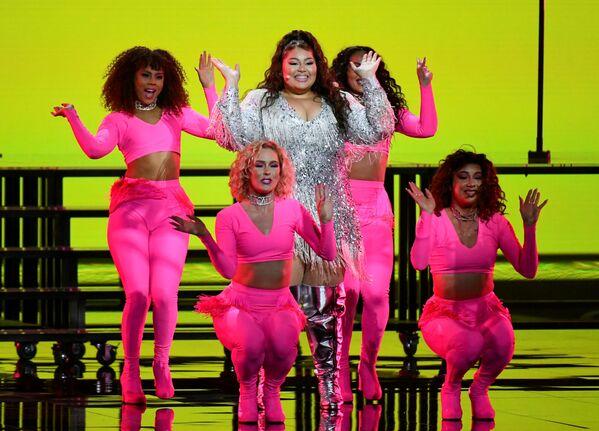 La cantante Destiny di Malta si esibisce durante la finale della 65a edizione dell'Eurovision Song Contest 2021, all'Ahoy Arena di Rotterdam, 22 maggio 2021 - Sputnik Italia