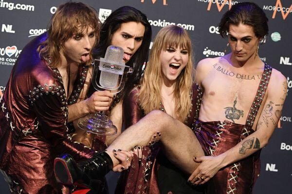 I Maneskin, vincitori dell'Eurovision Song Contest 2021, alla cerimonia di premiazione a Rotteradm. - Sputnik Italia