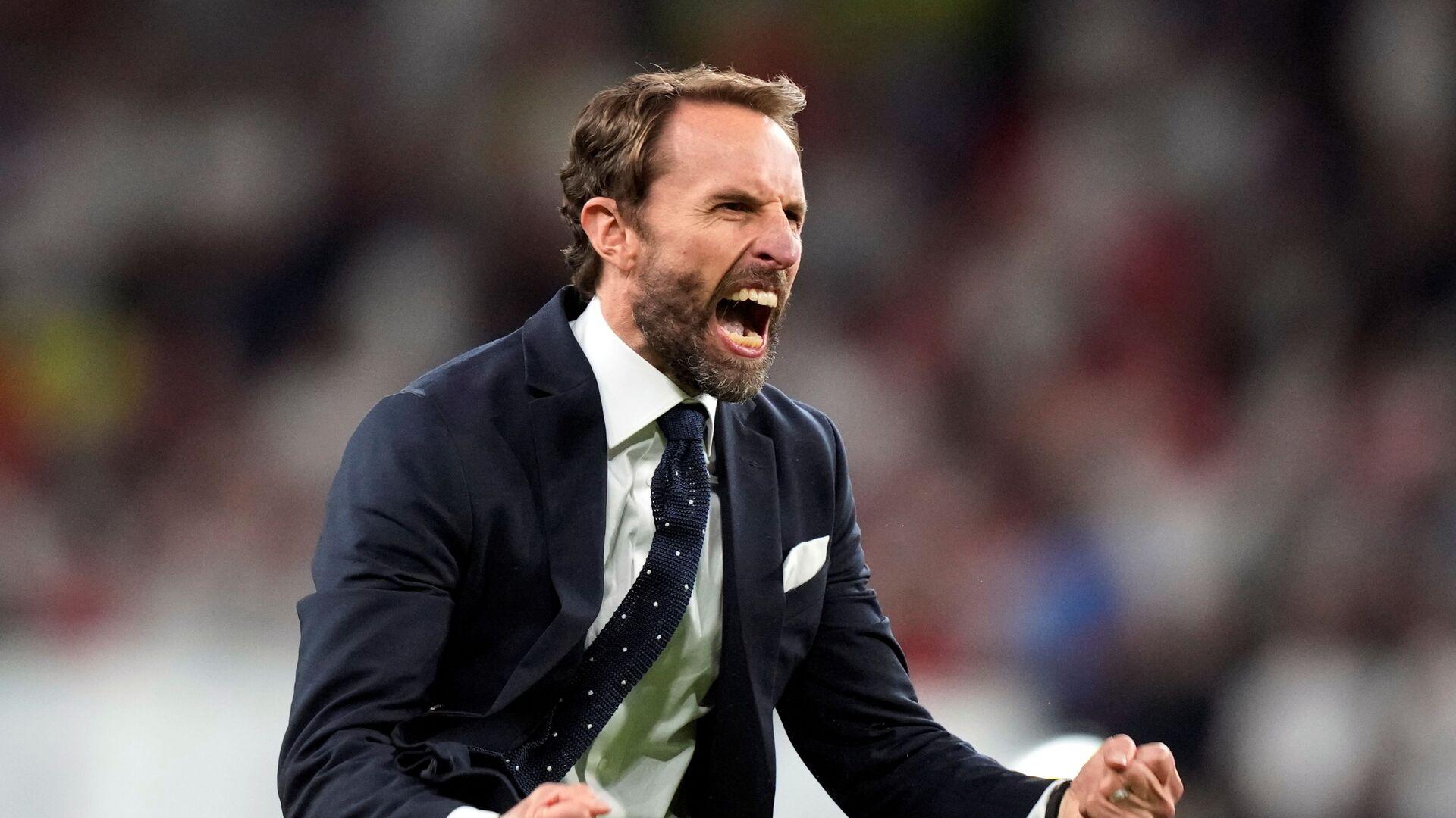 Тренер сборной Англии Гарет Саутгейт во время матча Англия-Дания на Евро-2020 - Sputnik Italia, 1920, 10.07.2021