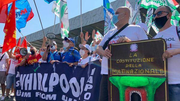 Manifestazione lavoratori Whirlpool a Roma, 22 luglio 2022 - Sputnik Italia