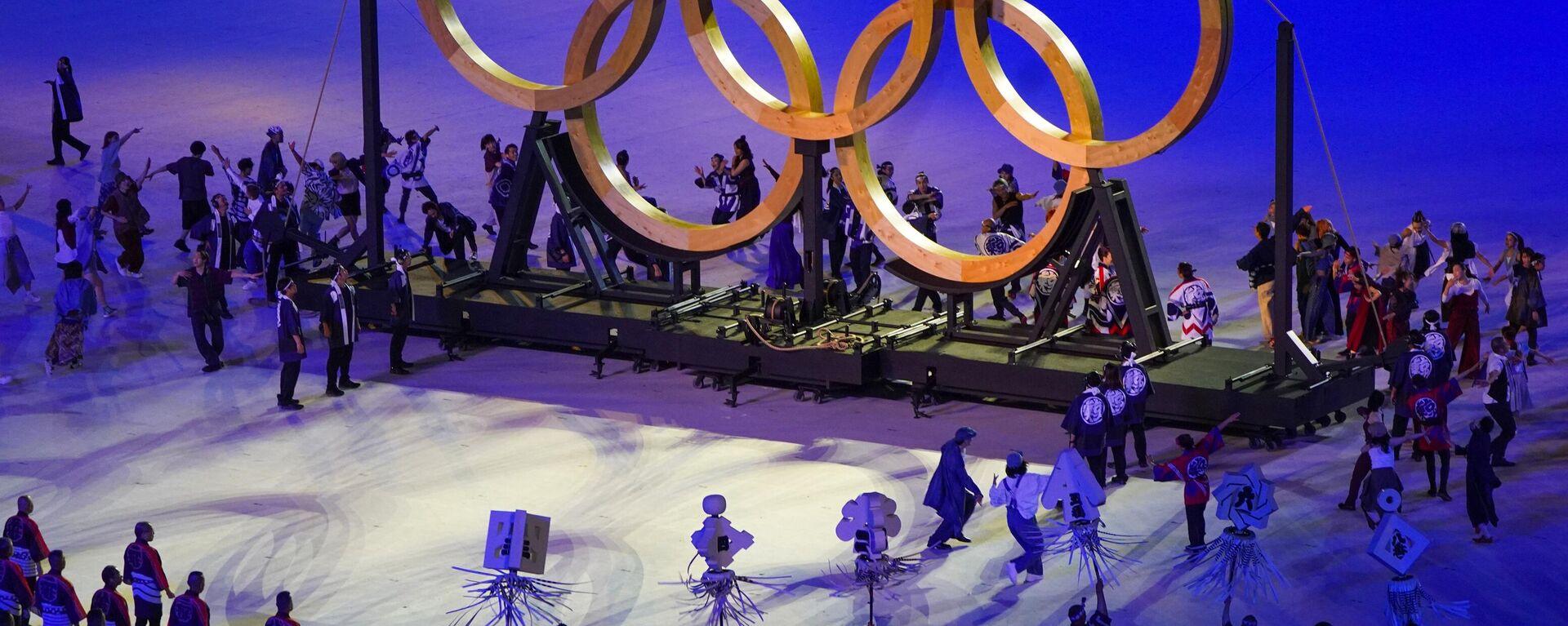 Gli artisti durante la cerimonia di apertura delle Olimpiadi di Tokyo. - Sputnik Italia, 1920, 27.07.2021