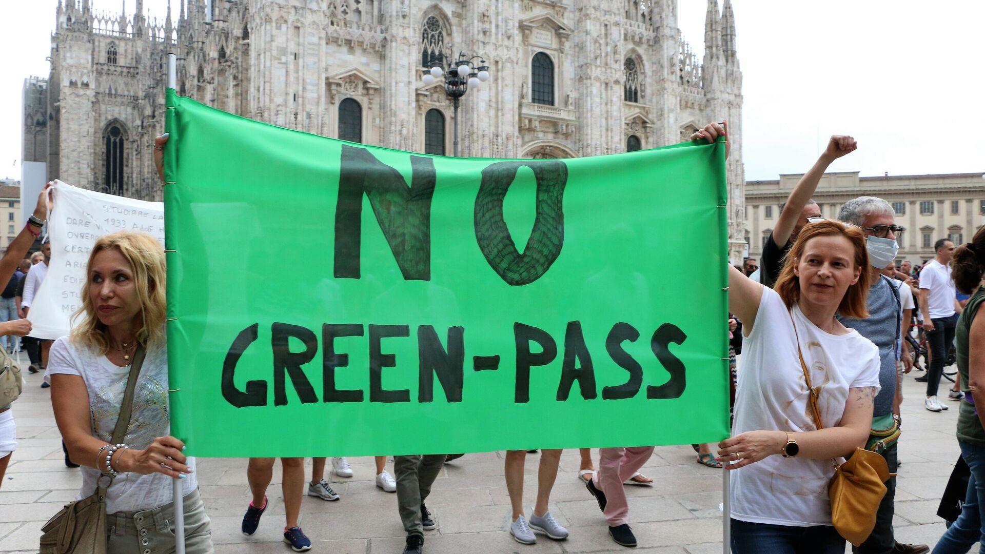 Manifestazione No Green Pass, Milano 31.07 - Sputnik Italia, 1920, 23.09.2021