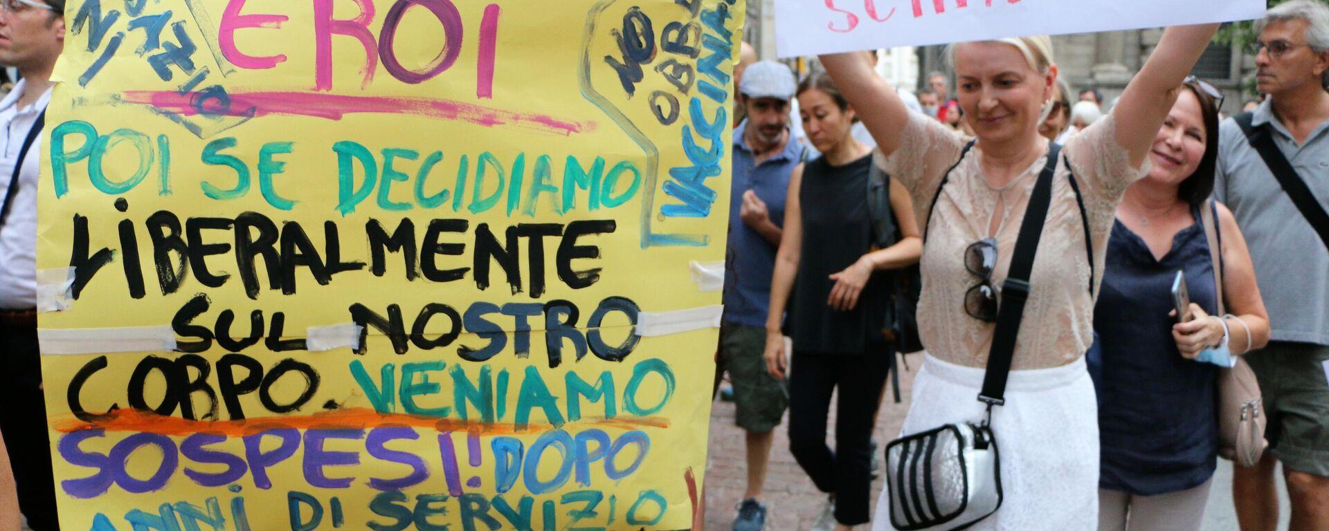 Manifestazione No Green Pass, Milano 31.07 - Sputnik Italia, 1920, 02.08.2021