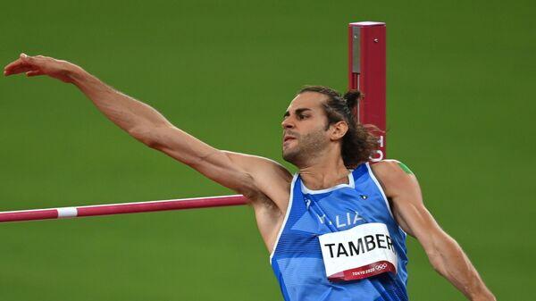 Спортсмен сборной Италии Джанмарко Тамбери во время финальных соревнований по прыжкам в высоту среди мужчин на XXXII Олимпийских играх в Токио - Sputnik Italia