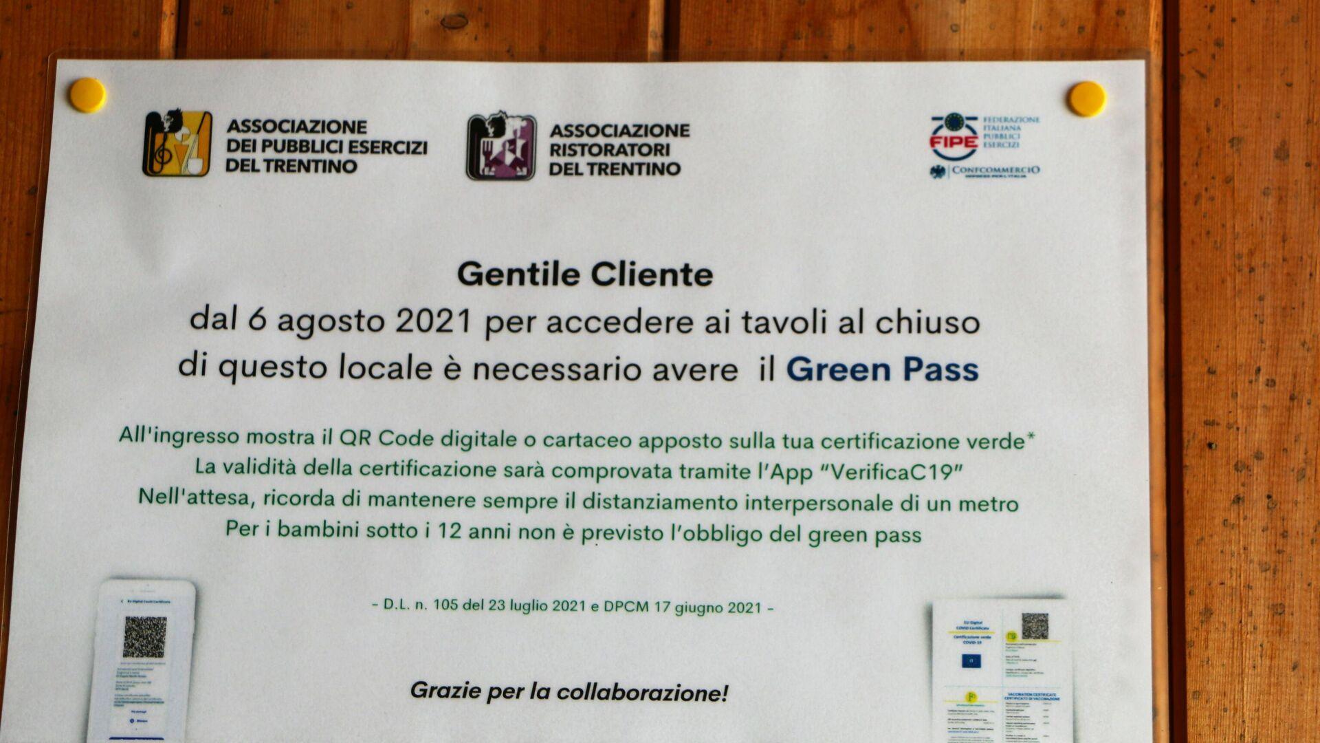 Cartello che ricorda l'obbligo del Green Pass - Sputnik Italia, 1920, 25.09.2021