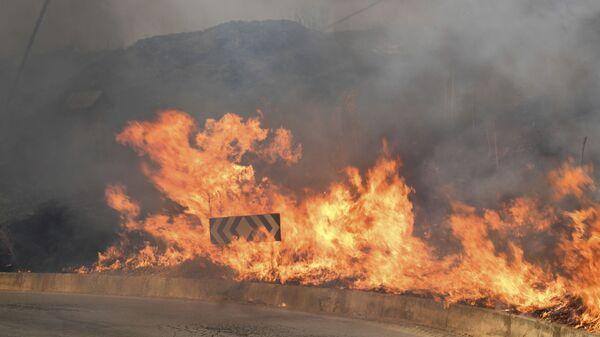 Пожар на дороге в муниципалитете Блуфи, Сицилия - Sputnik Italia