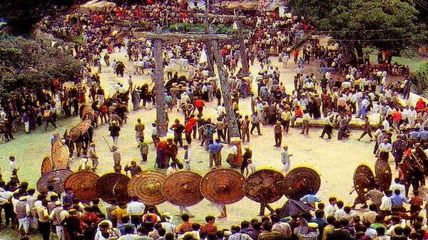 Фестиваль Багвал в Индии, участники которого бросают друг в друга камнями - Sputnik Italia