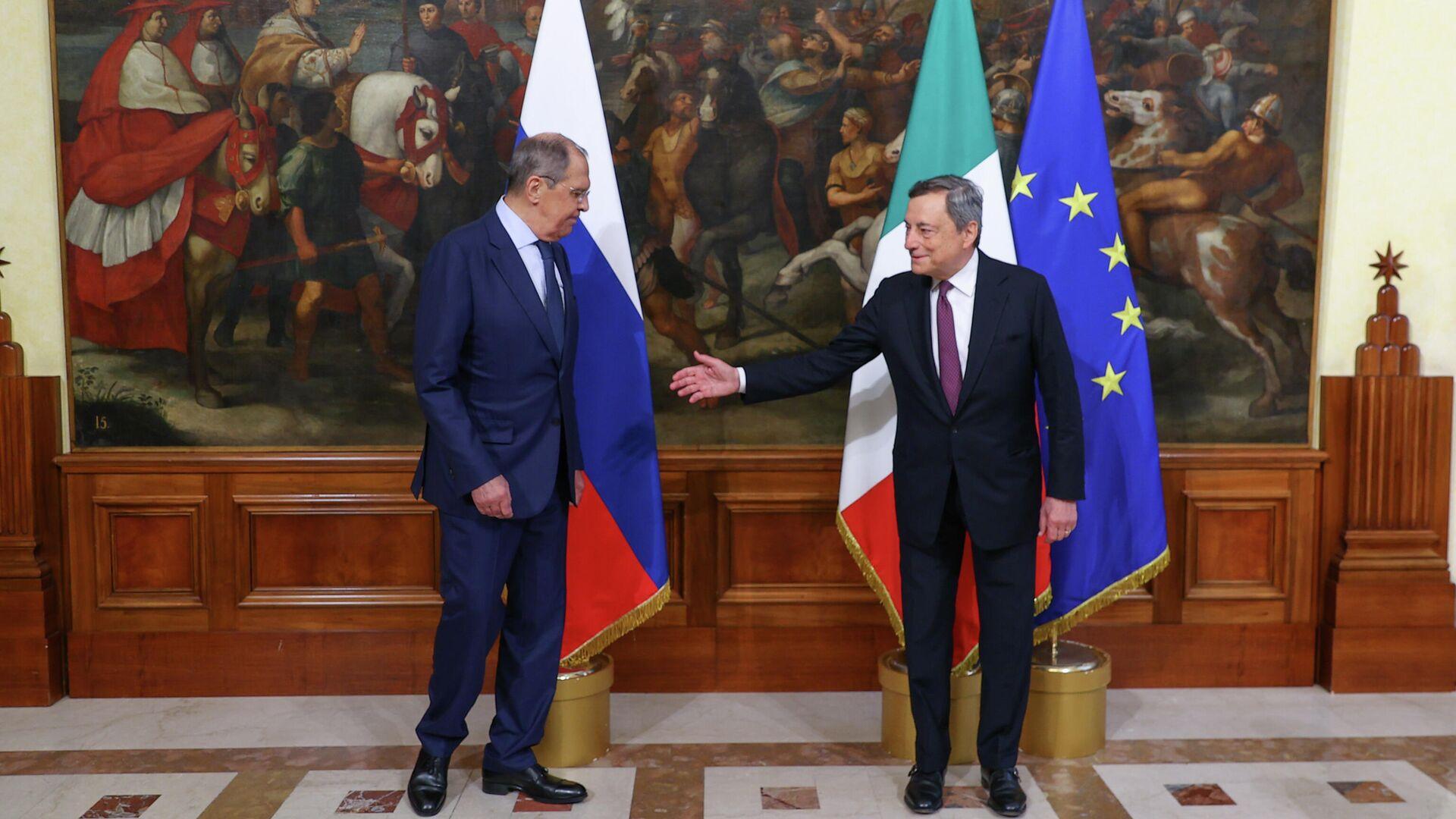 Il Presidente Mario Draghi ha incontrato il Ministro degli Affari Esteri della Federazione Russa, Sergey Lavrov, a Palazzo Chigi - Sputnik Italia, 1920, 30.08.2021