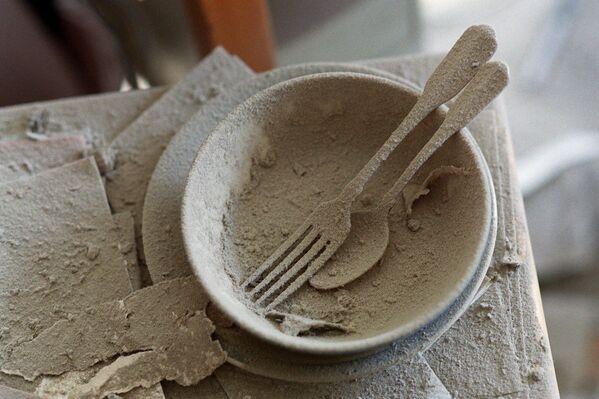 Polvere e detriti ricoprono i piatti in un appartamento a Battery Park City, 23 settembre 2001, a New York. - Sputnik Italia