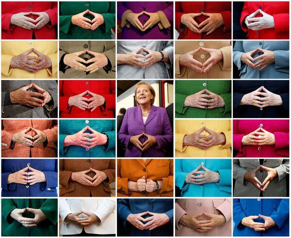 Una composizione fotografica che mostra il tipico gesto della Merkel, le mani a rombo, con sullo sfondo le giacche di diversi colori indossate dalla cancelliera durante gli eventi pubblici. - Sputnik Italia