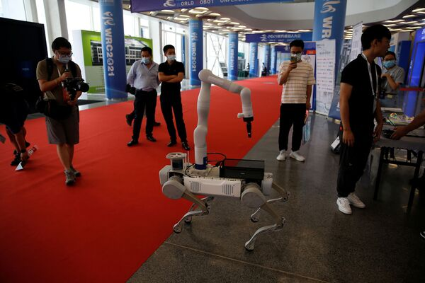 Un robot simile è stato sviluppato anche dagli specialisti di DeepRobotics. Gli ospiti della mostra hanno avuto l'opportunità unica di interagire con il robot Jueying X20. - Sputnik Italia