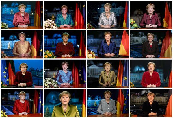 Angela Merkel nelle varie registrazioni televisive del suo discorso annuale di Capodanno alla cancelleria, dal 2005 al 2020. - Sputnik Italia