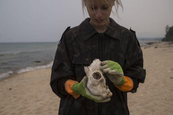 I volontari della Guardia Costiera del lago Bajkal raccolgono i rifiuti. - Sputnik Italia