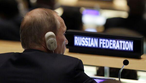 Президент России Владимир Путин на пленарном заседании 70-й сессии Генеральной Ассамблеи ООН в Нью-Йорке - Sputnik Italia