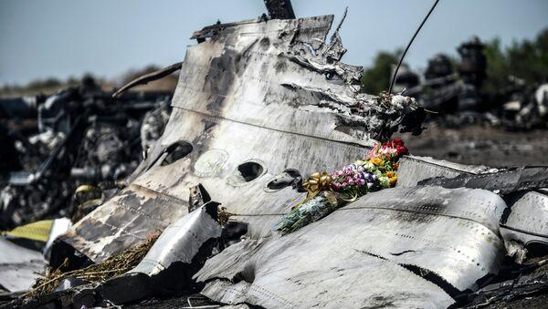 I fiori sul resto del Boeing MH17 abbattuto in Donbass. - Sputnik Italia